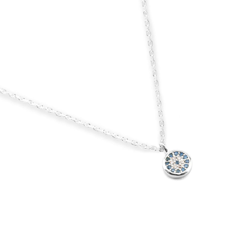 by charlotte - silver jewelled eye necklace