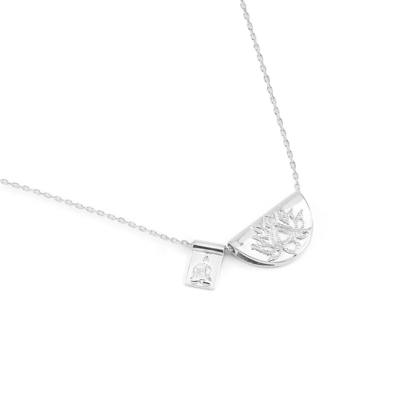 by charlotte - silver lotus little buddha long necklace