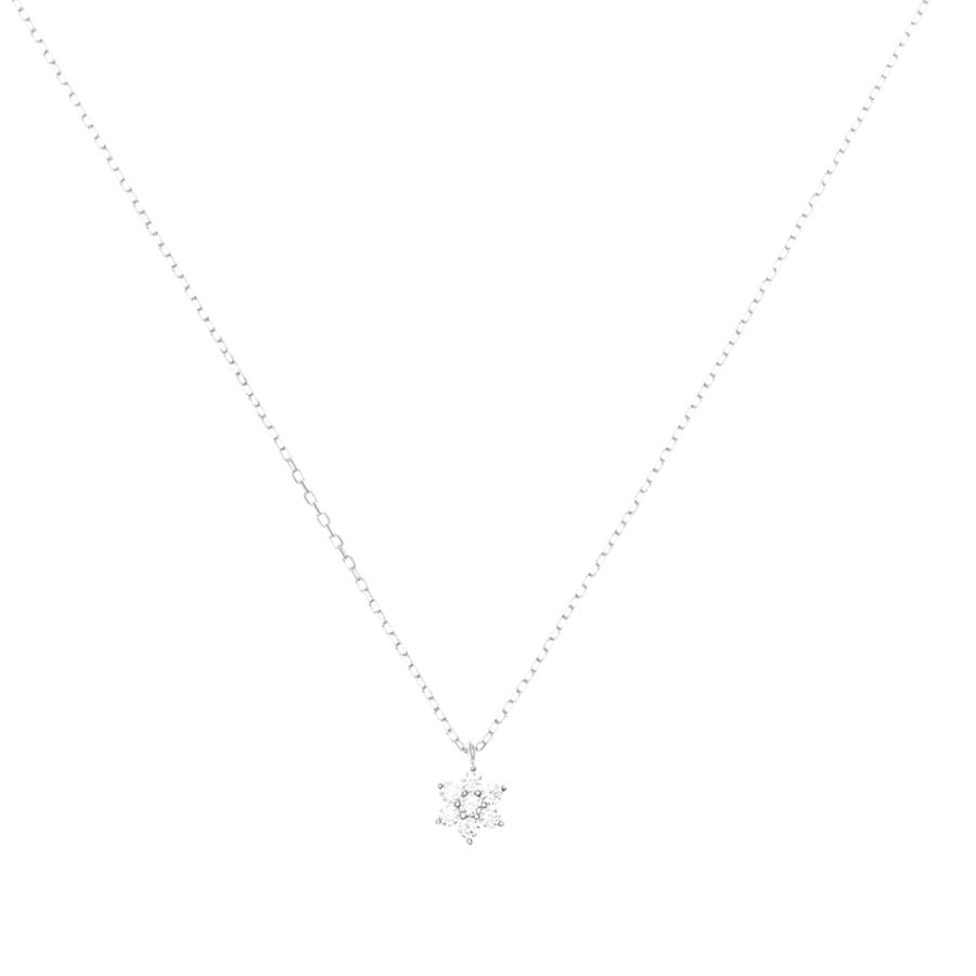 by charlotte - 14k white gold crystal lotus flower necklace