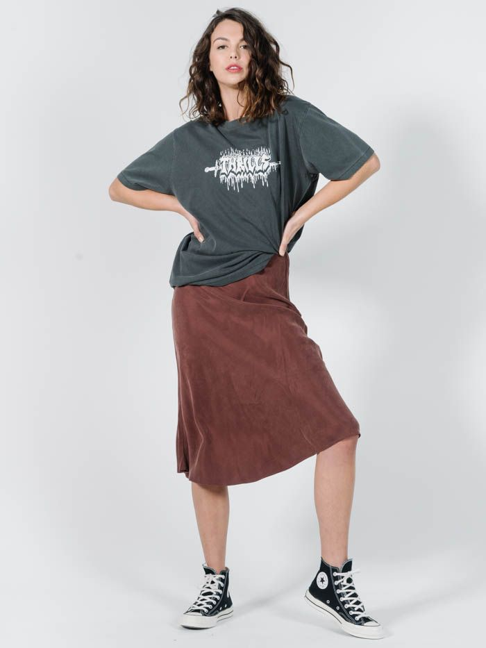 thrills - kiri bias skirt - brown