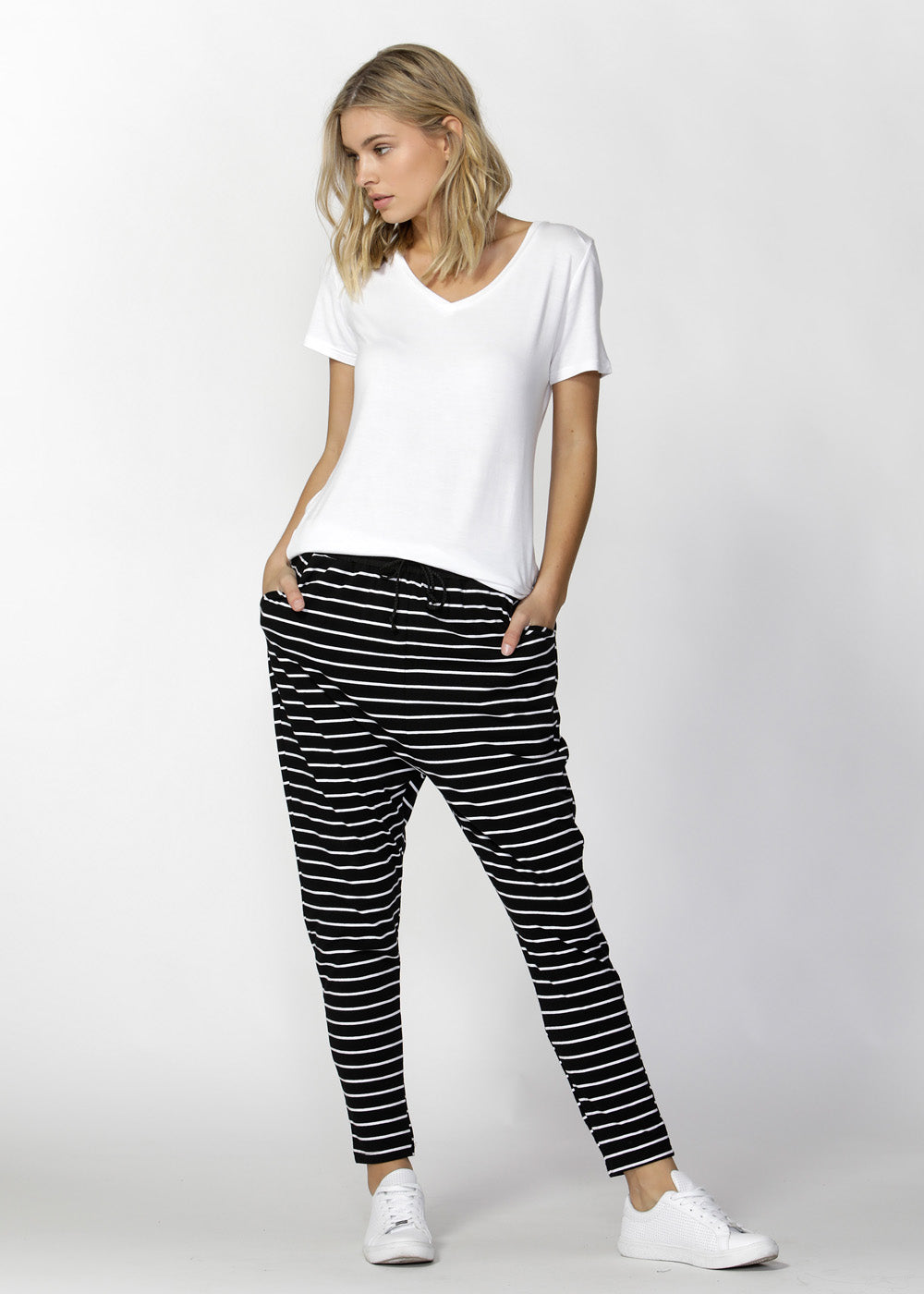 betty basics - jade pant - black/white stripe