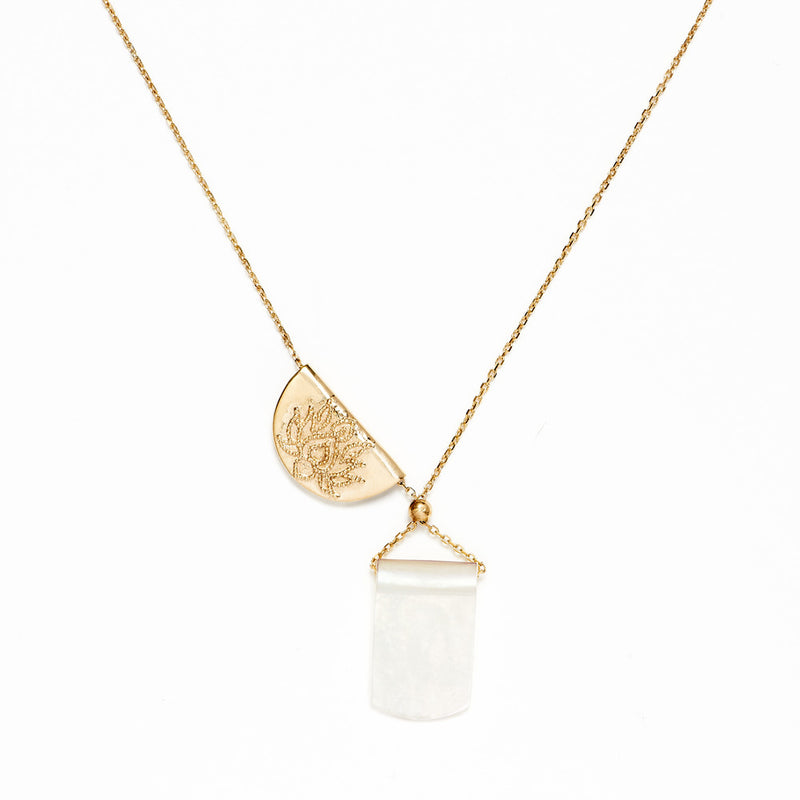BY CHARLOTTE - GOLD LOTUS MOONLIGHT NECKLACE