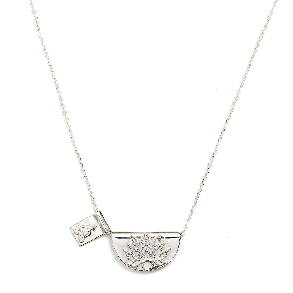 BY CHARLOTTE - SILVER LITTLE BUDDHA/LOTUS SHORT NECKLACE