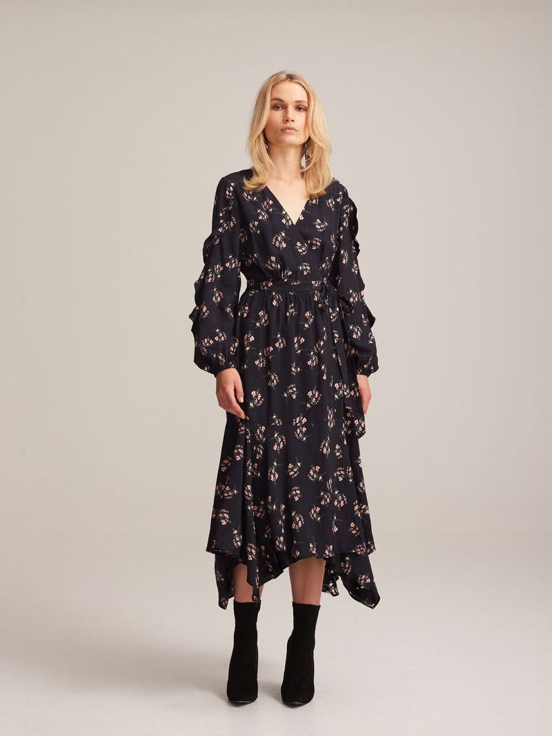 STEELE - KOKO DRESS - BLACK FLORA