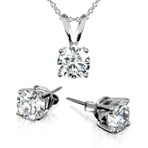 3.00CTTW Round Necklace and Earrings Set Made with Swarovski Crystals  - UntilGone.com