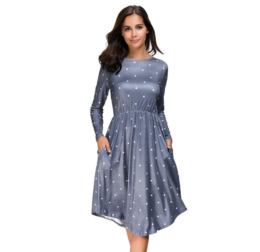 Women S Long Sleeve Polka Dot Midi Dress