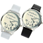 """Whatever, I'm Late Anyway"" Watch w/ Leather Band – Black or White"