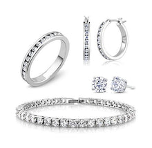 18K White Gold and CZ Jewelry Set - Hoops, Studs, Tennis Bracelet and Ring  - UntilGone.com