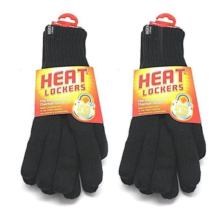 Heat Lockers Men's Black Thermal Gloves with Insulated Lining (2-Pack)