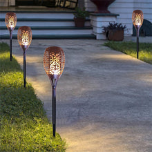 [2-Pack] Solar Powered 30-Inch Landscape Lights with Flickering LED Flame  - UntilGone.com