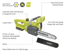Sun Joe iON 10-Inch Brushless Cordless Chainsaw with 20-Volt Battery Chainsaws