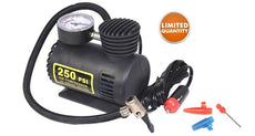 12V Mini Air Compressor with Pressure Gauge and Adapter Tips