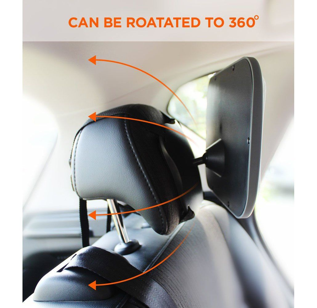 Shatterproof Baby Back Seat Car Mirror With Free Window SunShades