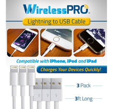 [3-Pack] Wireless Pro 3-Foot Charge Cables for Apple Lightning Devices Cables