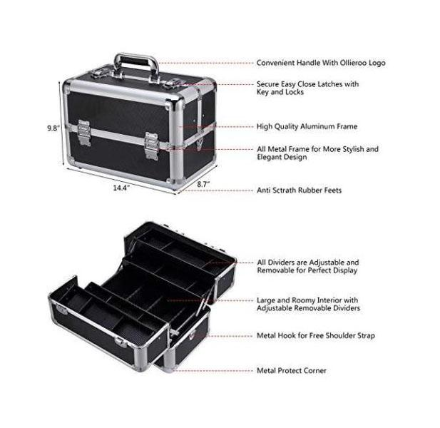 Professional Make Up Case With Adjustable Dividers Lock