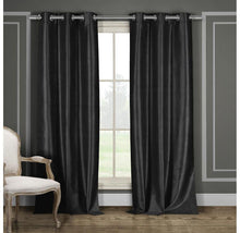 "Heavy Faux-Silk Blackout Thermal Curtains (2-Panels) Curtains & Drapes 84"" Length - Black"