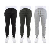 [3-Pack] French Terry Joggers with Zipper Pocket - 3 Choices Activewear Black-Charcoal-HG-Small