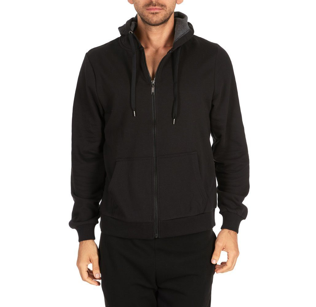 Men's Fleece Cotton-Blend Full Zip Hoodie Black - Medium - UntilGone.com