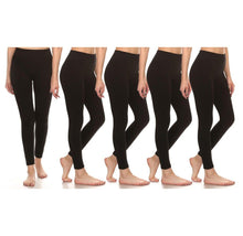 [5-Pack] Women's Premium Fleece Leggings Activewear All Black