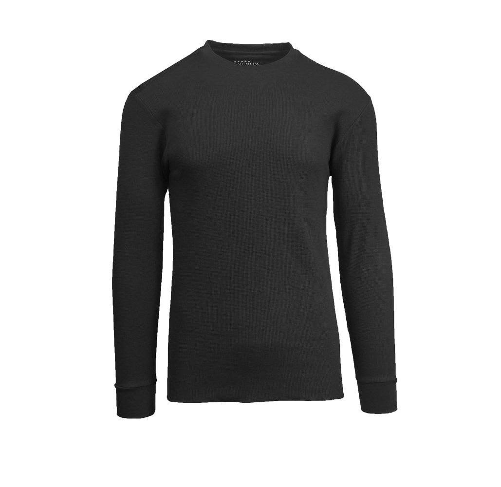 Men's Waffle-Knit Cotton Blend Thermal Shirt Black - Small - UntilGone.com