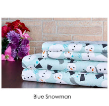 Bibb Home Holiday & Winter Printed 100% Cotton Flannel Sheet Set Twin - Blue Snowman - UntilGone.com