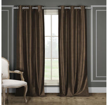 "Heavy Faux-Silk Blackout Thermal Curtains (2-Panels) Curtains & Drapes 84"" Length - Chocolate"