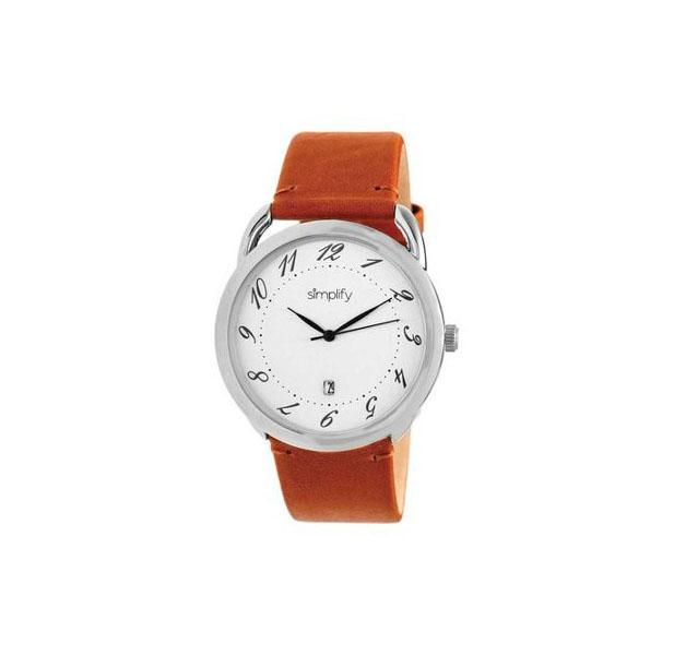 Simplify The 4900 Unisex Watch with Leather Band - 5 Choices Camel Band/Silver Case - UntilGone.com