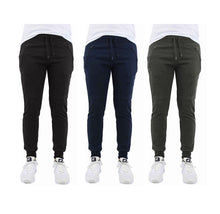 [3-Pack] French Terry Joggers with Zipper Pocket - 3 Choices Activewear Black - Navy - Charcoal - Smal