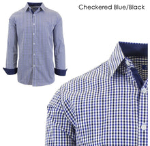 Men's Wrinkle-Resistant Long Sleeve Slim-Fit Button Shirt Checkered Blue/Black - Small - UntilGone.com