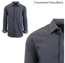 Men's Wrinkle-Resistant Long Sleeve Slim-Fit Button Shirt Checkered Grey/Black - Small - UntilGone.com