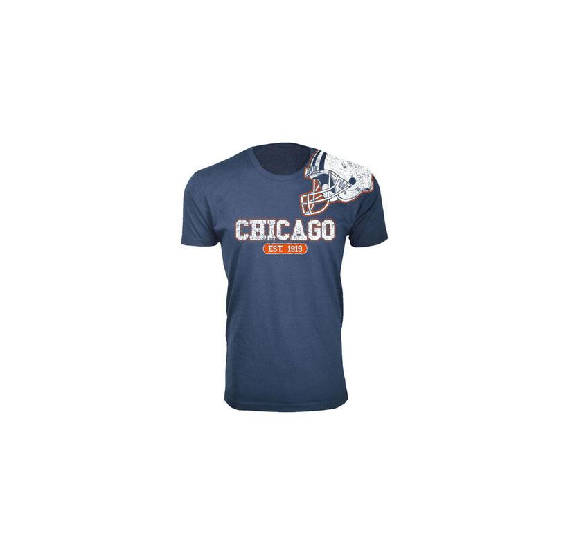 Men's Football Helmet Cotton T-Shirts - 16 Choices Chicago / Navy / Small - UntilGone.com