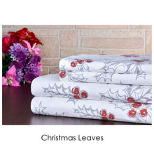 Bibb Home Holiday & Winter Printed 100% Cotton Flannel Sheet Set Twin - Christmas Leaves - UntilGone.com