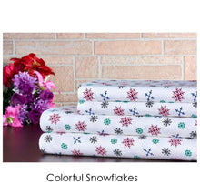 Bibb Home Holiday & Winter Printed 100% Cotton Flannel Sheet Set Twin - Colorful Snowflakes - UntilGone.com