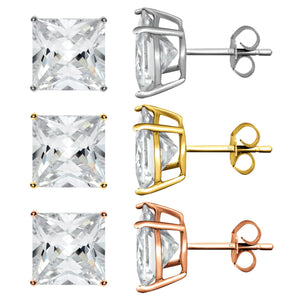 Princess-Cut Cubic Zirconia Stud Set in 14K Gold Plating (3-Pack)