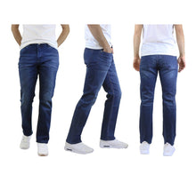 Men's Straight Leg Jeans with Stretch Fit Pants Dark Blue - 30X30