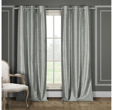 "Heavy Faux-Silk Blackout Thermal Curtains (2-Panels) Curtains & Drapes 84"" Length - Grey"