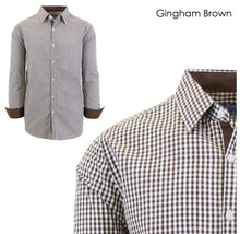 Men's Wrinkle-Resistant Long Sleeve Slim-Fit Button Shirt Gingham Brown - Small - UntilGone.com