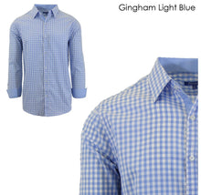 Men's Wrinkle-Resistant Long Sleeve Slim-Fit Button Shirt Gingham Light Blue - Medium - UntilGone.com