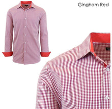Men's Wrinkle-Resistant Long Sleeve Slim-Fit Button Shirt Gingham Red - Small - UntilGone.com