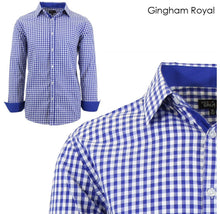 Men's Wrinkle-Resistant Long Sleeve Slim-Fit Button Shirt Gingham Royal - Small - UntilGone.com