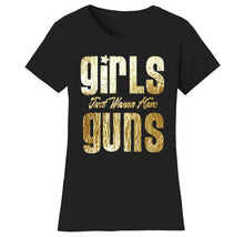 Women's Gym Workout Humor Funny T-Shirts Shirts & Tops Guns - Bl/Gold Print / Small