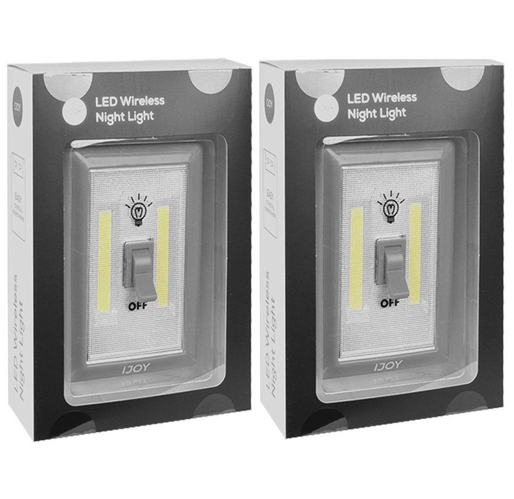 2 Pack Super Bright Light Switch Style Battery Powered Led Indoor