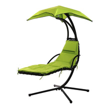Hanging Chaise Lounge Swing Chair with Umbrella Canopy