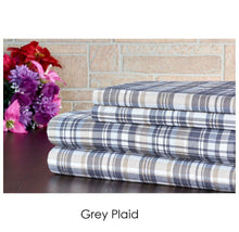 Bibb Home Holiday & Winter Printed 100% Cotton Flannel Sheet Set Twin - Grey Plaid - UntilGone.com