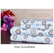 Bibb Home Holiday & Winter Printed 100% Cotton Flannel Sheet Set Full - Grey Snowflakes - UntilGone.com
