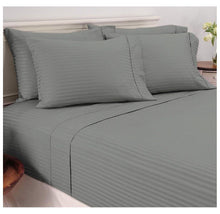 Damask Stripe Sheet Set in 600 TC 100% Egyptian Cotton Bed Sheets Twin - Grey