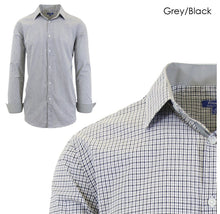 Men's Wrinkle-Resistant Long Sleeve Slim-Fit Button Shirt Grey/Black - Small - UntilGone.com