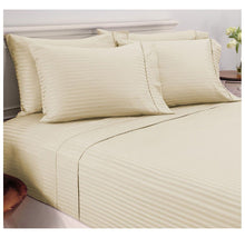 Damask Stripe Sheet Set in 600 TC 100% Egyptian Cotton Bed Sheets Full - Ivory