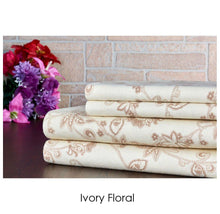 Bibb Home Holiday & Winter Printed 100% Cotton Flannel Sheet Set Twin - Ivory Floral - UntilGone.com