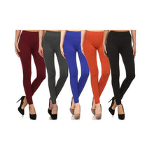 [5-Pack] Women's Premium Fleece Leggings Activewear Blk, Rst, Blu, Char, Burg